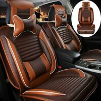 Deluxe PU Leather Car Seat Cover 5-Seats SUV Front & Rear Cushions w/Pillows Set