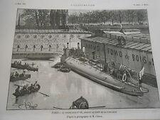 Gravure 1885 - Paris Le Torpilleur N°68 amarré au pont de la concorde