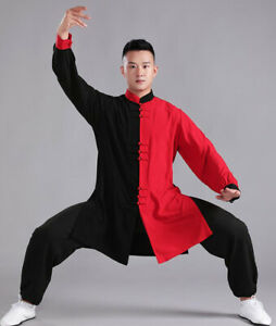 Chinese Kung Fu Tai Chi Uniform Muslin Martial Arts Suit Outfit Color Contrast