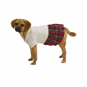 Dog Dress Back To School Jumper East Side Collection White Sweater/Plaid