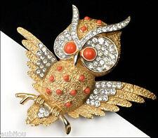 VTG CROWN TRIFARI FIGURAL FAUX CORAL CABOCHON RHINESTONE OWL BIRD BROOCH PIN 60s