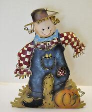"Scarecrow Tin Metal 12"" Pumpkin Man Decoration Candle Holder / Hanger"