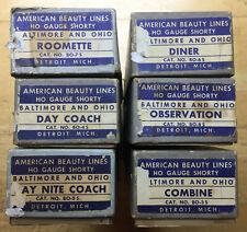 Vintage AMERICAN BEAUTY LINES Baltimore & Ohio Set Shorty Passenger Car Kits 6pc