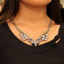 Collar Hoja Azul Turquesa Negro Cristal Moderno Original Noche Matrimonio QT 2