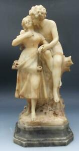 19C Alabaster Carved Sculpture of a Man & Maiden Lovers Signed Adolfo Cipriani