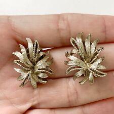 Vintage Lisner Clip Earrings Silver Tone Signed