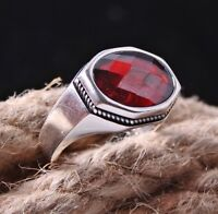 Ruby Stone  Turkish handmade 925 Sterling Silver red Mens man ring ALL SİZE US