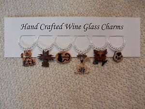 """""""KITTY CATS"""" SET OF 6 Hand Crafted Wine Glass Charm drink markers"""