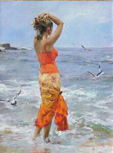 LMOP586 long dress girl portrait in seaside hand painted art oil painting canvas