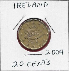 IRELAND 20 EURO CENTS 2004 HARP,DENOMINATION AND MAP,NOTCHED