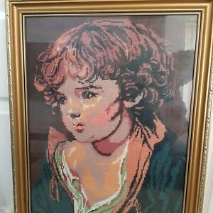 Vintage Needle Point Child Portrait Tapestry Embroidered Large Frame picture