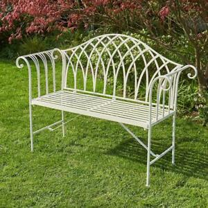 Cream Garden Bench Metal 2 Seater Patio Chair Outdoor Seating Ornate Design