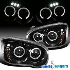 For 2004-2005 Subaru Impreza WRX Polished Black LED Halo Projector Headlights