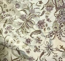 "Brown Sage & Cream Floral - Printed Silk Dupioni Fabric 18""x27"" remnant"