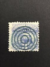 GandG US Stamps #114 Locomotive 3c Used Bullseye SOTN Green Cancel