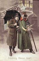 Happy New Year vintage postcard Two Men and a Umbrella 02.52