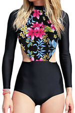 Red Flowery Print Long Sleeve Surfing One Piece Swimsuit Sporty Rash guard M