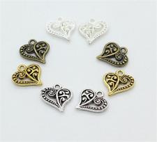 Wholesale 12pcs Tibet silver Love Heart Charm Pendant beads Jewelry Making DIY ~