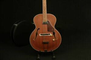 New Acoustic Guitar Brown Color Solid Top Mahogany F Hole With Pickguard