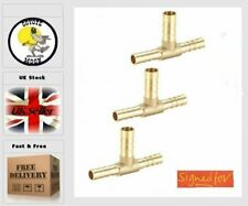 Reducer Barb Fitting Tee 6mm x 8mm x 6mm Brass, air, water. fuel 114  UK SELLER