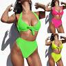 Neon Thong Bathing Suit Swimwear Women's Push Up Brazilian Bikini Set Beachwear