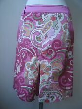 Etro Cotton Skirt Sz 44 Gorgeous Pink Green