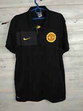 Manchester United Jersey Polo L Shirt Black Mens Football Nike 355107-017
