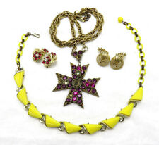 4 Piece Lisner Vintage Necklace Earrings Lot Red Rhinestone Yellow Lucite 392h