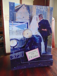 Handmade PERSONALISED Card or Topper. WEDDING CAR ARRIVING AT THE CHURCH