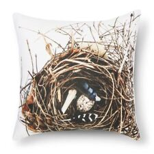 "Bird Feather and Nest Print Decorative Pillow 18""  x 18"" Still by Mary Jo NEW"