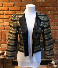 VINTAGE VTG Mod CHIC Maggie London Black Gold Egyptian Crop Bolero Jacket sz 4
