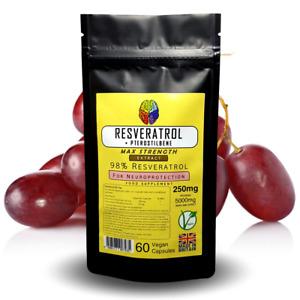 98% Resveratrol + Pterostilbene 250mg Capsules - Grape Skin Extract Supplement