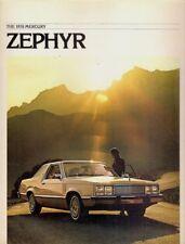MERCURY Zephyr 1978 Stati Uniti del mercato delle vendite BROCHURE Berlina ES LUSSO Z-7 CARRO Villager