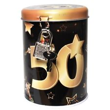 """Metall Spardose Schwarz/Gold """"50"""" Sparbüchse Sparschwein Spardose 11x8cm"""