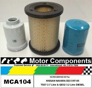 FILTER KIT Oil Air Fuel for NISSAN NAVARA D22 TD27 2.7L QD32Ti 3.2L DIESEL 97-05