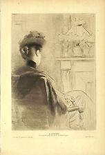 """RODOLPHE PIGUET POINTE-SECHE ORIGINALE DRY POINT """" L' ATTENTE """" 1904"""