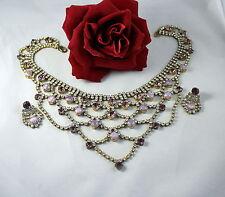 Gorgeous Lillian Czech Purple  Rhinestone  NEcklace Earrings Set Lot  CAT RESCUE