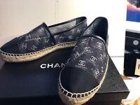 Chanel Wmn Shoes Blk Mesh White CC Logo Espadrille Size 41EUR