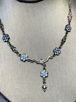"Ladies Women's Necklace Bohemian  Baby Blue Rhinestone Drop Pendant Chain 16"""
