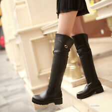 Womens Cuban Low Heel Over Knee Boots Biker Riding Wellies Shoes UK Size Y388