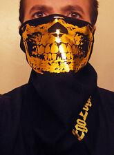 GOLD FOIL SKULL BLACK BANDANA FACE MASK CHOLO SNOW BIKER VATO GANGSTER RAVER 81