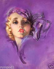 Art Deco/Art Nouveau/Vogue ZOE MOZERT/ Poster/Print/Dream Girl Pin Up/Purple