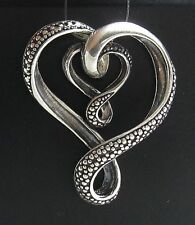 STYLISH STERLING SILVER PENDANT SOLID 925 BIG DOUBLE HEART