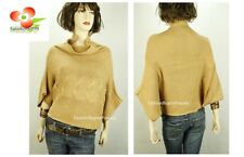 Celebrity Women Dolman Poncho Cable Knitted Pullover Outerwear Sweater Top NEW