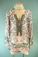 Hale Bob Silk Pink Tunic Blouse XS Floral Beaded Tunic Top Summer NWT