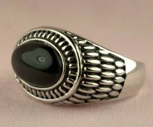 Celtic Wheat Oval  Black Onyx Mens Ring Platinum Overlay Size 14 T47