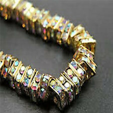 10 Quality Gold Plated Clear AB Crystal Beads, Square Rhinestone Spacers,3 for 2