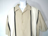 BEIGE SWINGERS BOWLING SHORT SLEEVED BUTTON SHIRT 90S 1XL XL 1X Synrgy striped