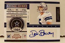 Dan Bailey Dallas Cowboys 2011 Playoff Contenders Rookie Ticket #194 AUTO RC