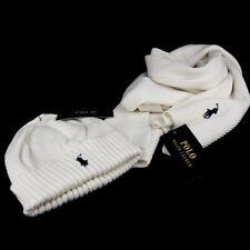 Ralph Lauren Pure Cotton Scarf and Hat White Winter Set